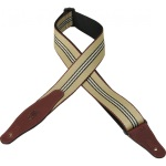 "Levy""s MSSW80-002 Woven Guitar Strap w/Leather Ends (red,tan and black, 2"") . Levy's"