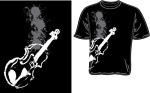 100359_M Violin Image T-Shirt (black and white, medium) . Music Treasures