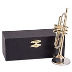 "Music Treasures 400003 Trumpet Miniature (4 3/4"") w/Case and Stand"