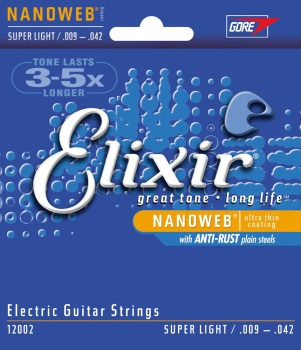 12002 Nanoweb Guitar Strings (super light, coated) . Elixir