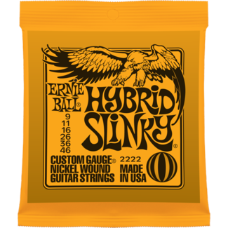 2222 Hybrid Slinky Custom Gauge Nickel Wound Guitar Strings . Ernie Ball