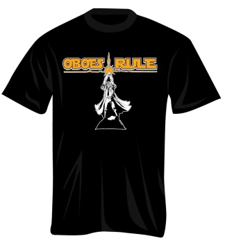 100248_M Oboes Rule T-Shirt (black/yellow, medium) . Music Treasures