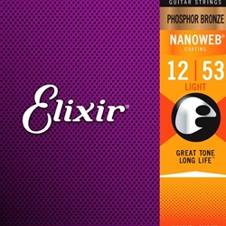16052 Nanoweb Phonsphor Bronze Acoustic Guitar Strings (light) . Elixir